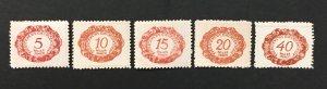 Liechtenstein 1920 #J1-4,J7, First Postage Due Issues, MNH-see note.