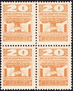 Stamp Germany Revenue Block WW2 3rd Reich BEZHitlerLT Management Fee 20pf MNH