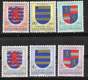 Luxembourg # B198-203  Coats of Arms  1957    (6)   VF Unused VLH