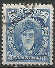 ZANZIBAR, 1952, used 35c, Sultan Khalifa bin Harub Scott 236