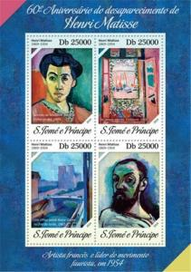 St Thomas - 2014 Matisse 60th Anniversary - 4 Stamp Sheet - ST14218a