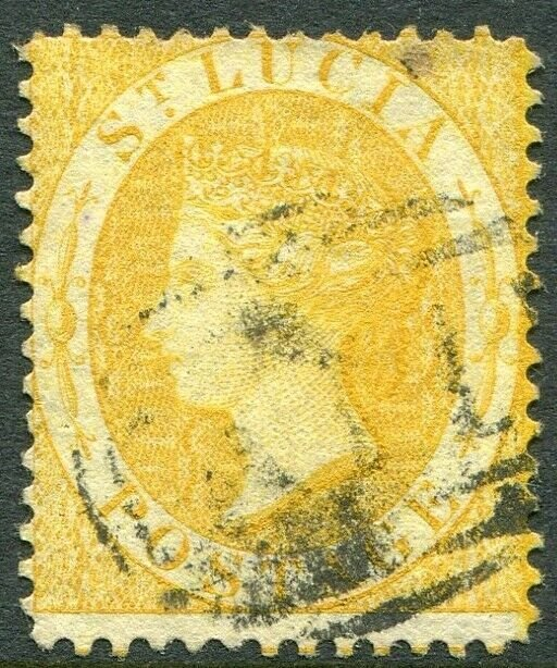 ST LUCIA-1876 4d Yellow Perf 14 Sg 16 GOOD USED V49027