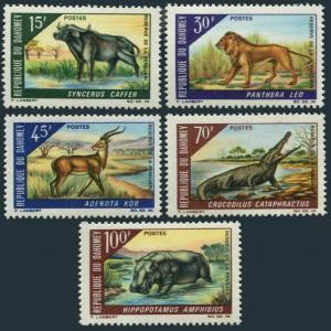 Dahomey 245-249,MNH.Michel 337-341. Pendjari Reserv,1968.Buffalo,Lion,Crocodile,
