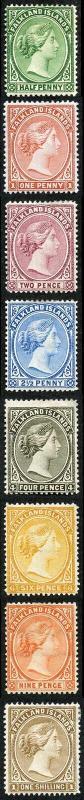 Falkland Islands SG17b/38 QV set of 8 mint (some hinge remainders)