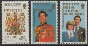 BELIZE SG717/9 1982 BIRTH OF PRINCE WILLIAM MNH