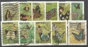NAMIBIA, 1993, used set of 11, Butterflies:. Scott 742-753