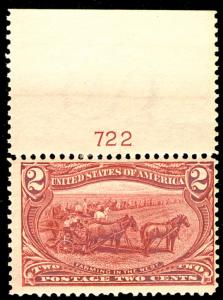 US  #286 SCV $60.00 VF mint never hinged, post office fresh, 2c Trans-Mississ...