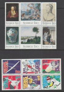 Sweden Sc 1968a, 1990a, MNH. 1992-93 Booklet panes, Paintings and Sports, VF