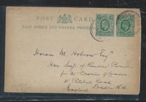 BRITISH EAST AFRICA (3009B) 1907 KE 1/2A PSC UPRATED 1/2A MOMBASA TO ENGLAND