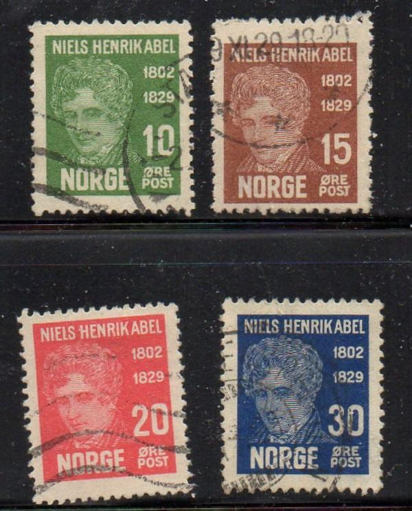 Norway Sc 145-8 1929 Niels Abel stamp set used