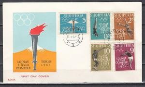Albania, Scott cat. 616-620. Tokyo Olympics issue. First day cover. ^