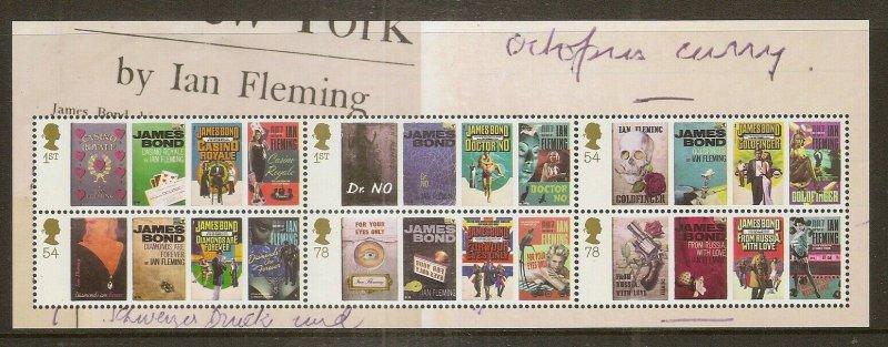GB 2008 Ian Fleming Birthday Mini Sheet MNH