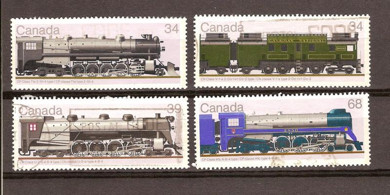 CANADIAN SET OF LOCOMOTIVES (4) USED STAMPS  LOT#175