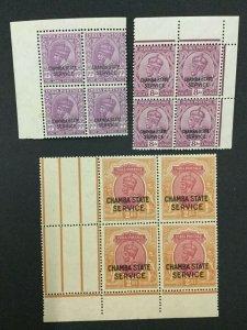 MOMEN: INDIA CHAMBA SG #O52,O55,O58 BLOCKS MINT OG NH LOT #193898-2339
