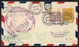 #570 & #642 ON LZ127 ZEPPELIN 1ST ROUND THE WORLD FLIGHT COVER  8/26/1929 BT9838