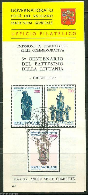 VATICAN CITY 1987 LITHUANIA BAPTISM OFFICAL  ANNOUNCEMENT FIRST DAY CANCELLED