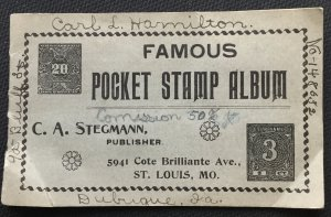 Vintage Famous Pocket Stamp Album C A Stegman Circa 1910 No Stamps