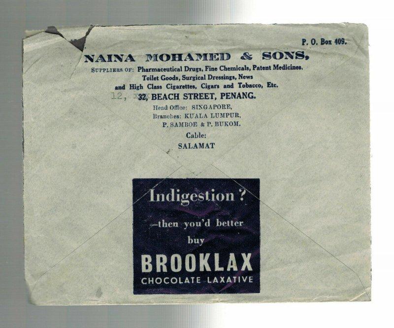 1940 Penang Malaya Advertising Cover to England Chocolate Laxative Brooklax