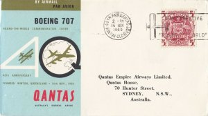 AFC219) AUSTRALIA 1960 QANTAS 1ST FLT.CVR.- QANTAS ROUND THE WORLD-AAMC 1443