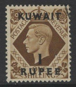 KUWAIT SG71 1948 1r on 1/= BISTRE-BROWN USED