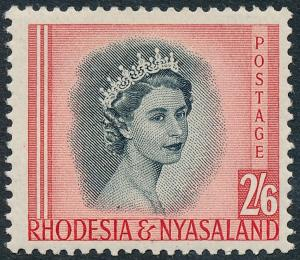 Rhodesia & Nyasaland 1954 2s6d Black & Rose-Red SG12 MNH