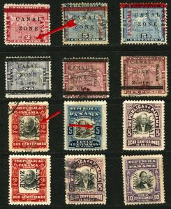 Canal Zone #11-#26 1905-1906 Mint and Used Some Over Print Errors, Shifts