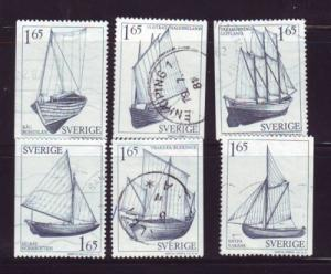 Sweden Sc1360-55 1981 sail boat stamps used