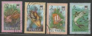 TUVALU  110-113  USED,  FISH
