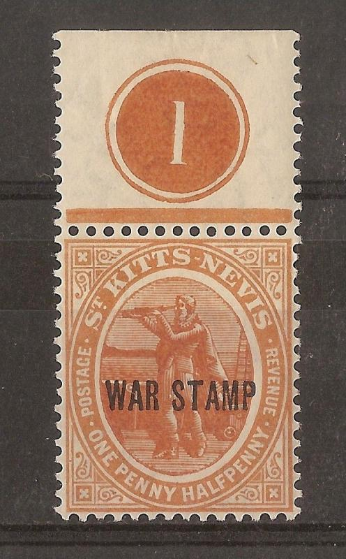 St Kitts 1918 1.5d War Stamp Opt Plate 1 MNH