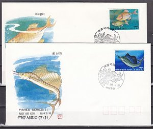South Korea, Scott cat. 1414-1415. Various Fish issue. First day cover. ^