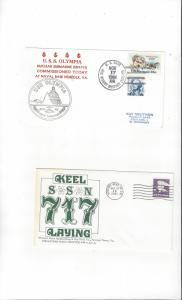 US Navy USS Olympia SSN 717, 2 Covers, Commission/Keel