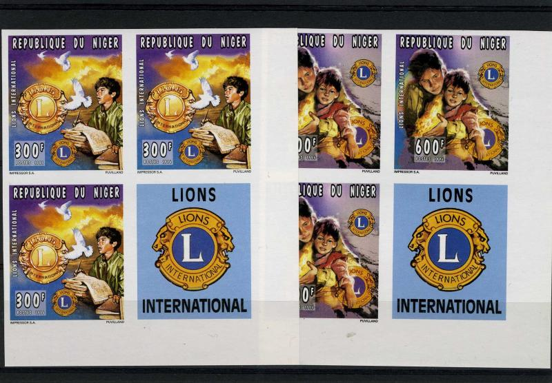 Niger 1996 Lions International Blocks of 4 + Labels Imperforated mnh.vf