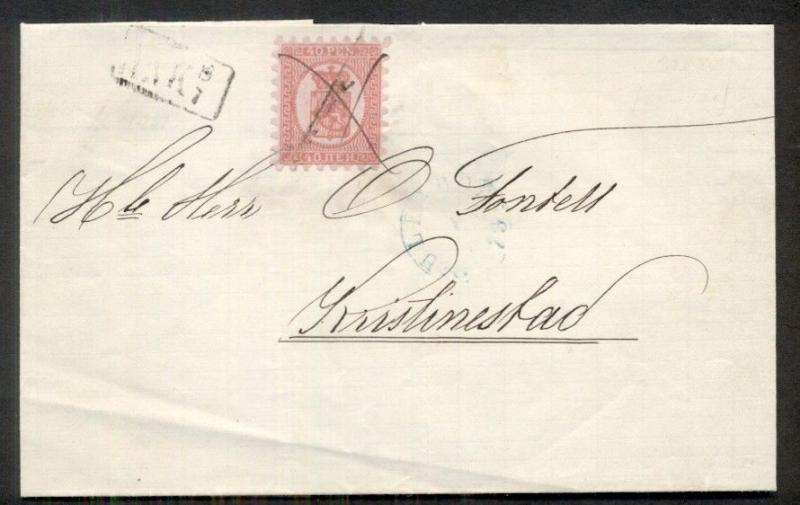 FINLAND 1873, 40 pen roulette I cover to Kristinestad, blue Uleaborg cancel