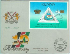 86280 - KENYA - Postal History - FDC Cover 1987 with LEAFLET  flags BIRDS doves