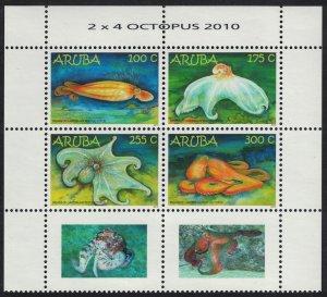 Aruba Caribbean Reef Octopus Block of 4 with labels 2010 MNH SG#502-505