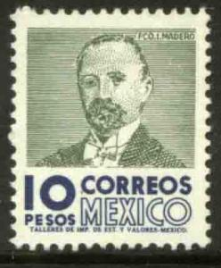 MEXICO 1101, $10 1950 Defin 9th Issue Unwmkd Fosfo Glazed. MINT, NH. F-VF.