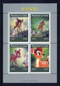 CHAD  2019  BAMBI SHEET OF FOUR  MINT NH