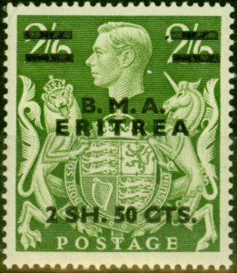 Eritrea 1948 2s50c on 2s6d Yellow-Green SGE10 Very Fine MNH