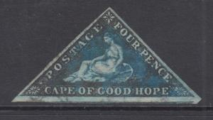 Cape of Good Hope Sc 4b, SG 6 used 1855 4p Seated Hope triangular VF