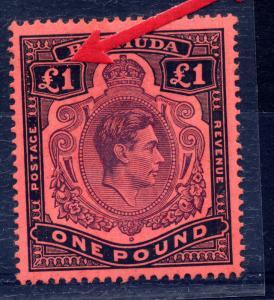 Bermuda 1945 sg 121 var £1 VARIETY small breaks above £ on left value tablet.