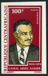 Central Africa C92 imperf,MNH.Michel 260B. Gamal Abdel Nasser,1918-1970.1972.