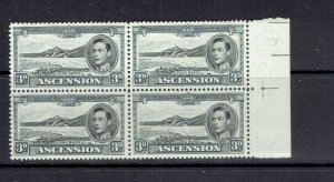 ASCENSION ISLAND - 1938 - 3p KING GEORGE VI - BLOCK OF 4 - SCOTT 44A - MNH