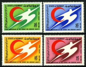 Kuwait 656-659, MNH. kuwait Red Crescent Society, 10th anniv. Emblem, 1976