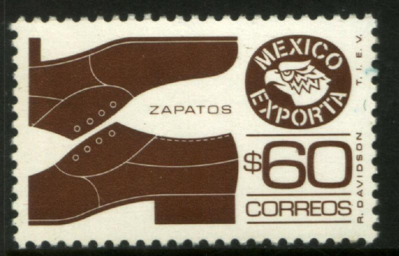 MEXICO Exporta 1467 $60P Shoes 11 1/2 X 11  Fluor Paper 8 MINT, NH. VF.