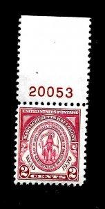US 1929 SC # 682  2 c  MASSACHUSETTS BAY  MINT NH - Vivid Color - Centered