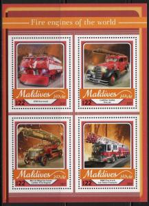 MALDIVES   2017  FIRE ENGINES OF THE WORLD SHEET MINT NH