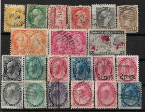 COLLECTION LOT OF 21 CANADA QV ERA STAMPS 1870+ CV+$88