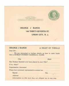 UY7 Reply Postal Card Orange J Ranch Donkey Baseball Union City NJ Inquiry