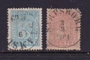 Norway a 4Sk & 8Sk fron 1863 used
