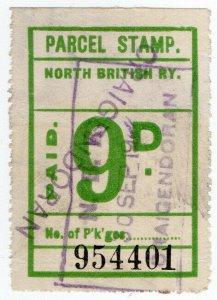 (I.B) North British Railway : Parcel Stamp 9d (Craigendoran)